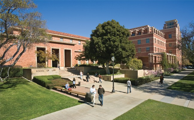 Exterior of UCLA School of Law, with people walking in front