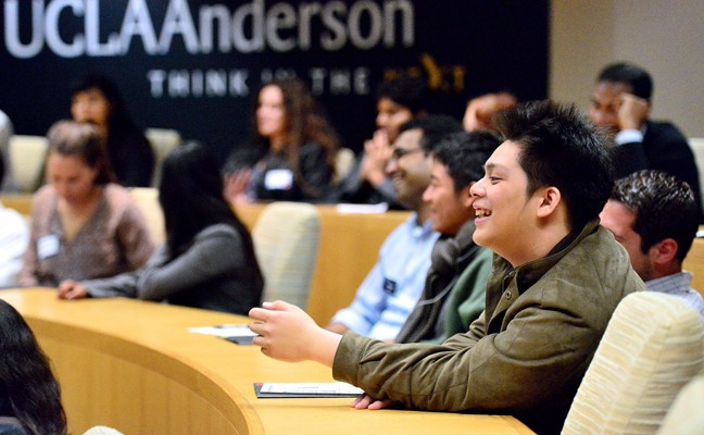 Students attend a lecture at UCLA Anderson School of Management.