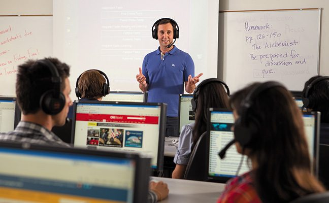 Students may take flipped learning courses, where they watch a lecture before class.