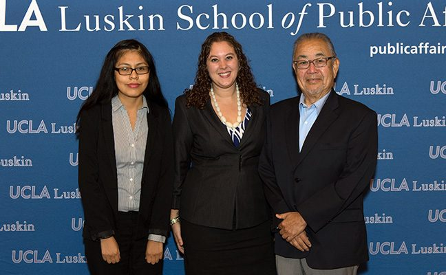 Luskin students with Senior Fellow and former Assemblymember Warren Futurani.