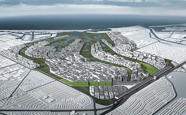 artist's rendering of urban wetlands in Seal Beach, CA
