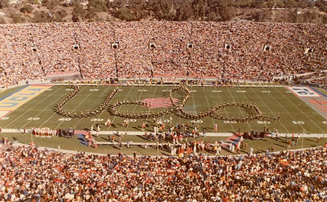 Bruin Band members march in formation at the UCLA-won 1976 Rose Bowl.