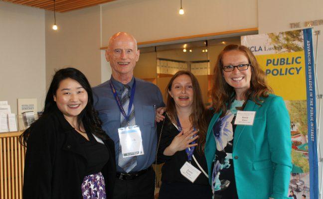 Maciek with 2014 MPP alumnae (L-R): Vernessa Shih, Jamie Poster, Annie Miner