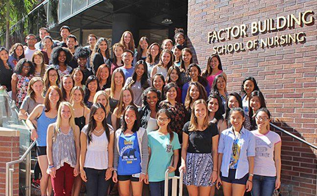 Nursing students on steps of UCLA School of Nursing - Factor Building