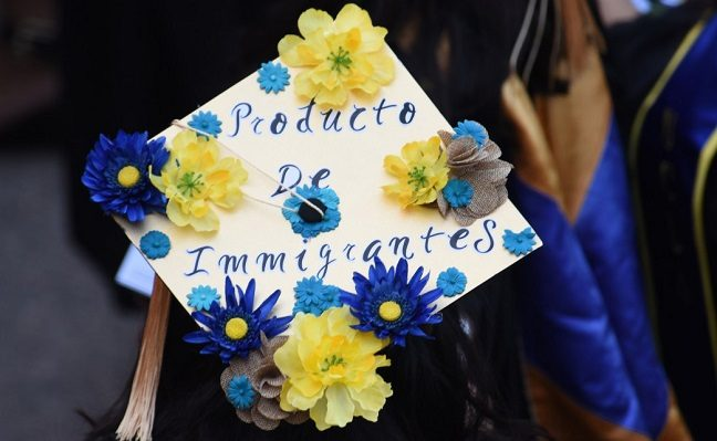"Mortarboard decorated with flowers and words ""product of immigrants"""