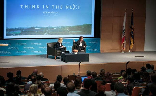 "Two women presenters at the ""Think in the Next"" event"